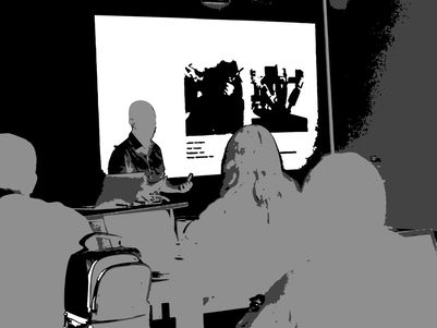 Rendering of speaker giving presentation to an audience